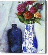 Zinnias With Blue Bottle Acrylic Print