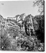 Zion National Park Utah Black White  Acrylic Print