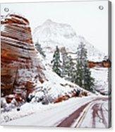 Zion Road In Winter Acrylic Print