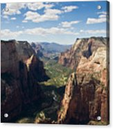 Zion Valley From Observation Point - Color Acrylic Print