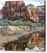 Zions National Park Angels Landing - Digital Painting Acrylic Print