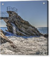 Zoagli Cliffs With Waves And Passage Acrylic Print
