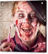 Zombie At Dentist Holding Toothbrush. Tooth Decay Acrylic Print