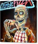Zombie Pizza Acrylic Print by Heather Calderon