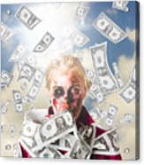 Zombie With Crazy Money. Filthy Rich Millionaire Acrylic Print