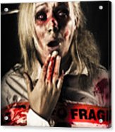Zombie Woman Expressing Fear And Shock When Waking Acrylic Print