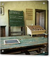 An Old Classroom With Blackboard And Boards With Old Script Acrylic Print