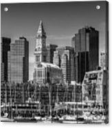 Boston Skyline North End And Financial District - Monochrome Acrylic Print