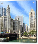 Buildings By The Chicago River, Chicago Acrylic Print