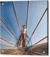Burma Myanmar Inle Lake Fisherman On Acrylic Print
