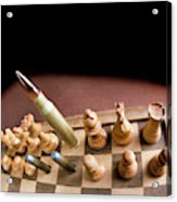 Chess Board And Bullets. Acrylic Print