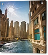 Chicago Cityscape And River Acrylic Print