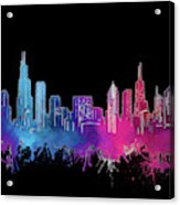 Chicago Skyline Watercolor 3 Acrylic Print