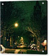 Dark Chicago City Street At Night Acrylic Print