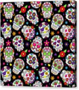 Day Of The Dead Sugar Skull Seamless Acrylic Print