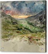 Digital Watercolor Painting Of Beautiful Dramatic Landscape Imag Acrylic Print