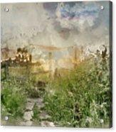 Digital Watercolor Painting Of Beautiful Vibrant Summer Sunrise  Acrylic Print