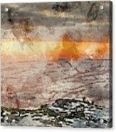 Digital Watercolor Painting Of Stunning Winter Panoramic Landsca Acrylic Print