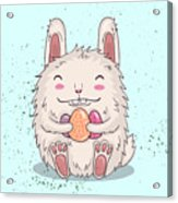 Easter Funny Bunny With Eggs. Vector Acrylic Print