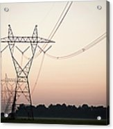 Electrical Power Lines Against The Acrylic Print
