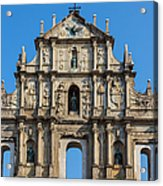 Facade Of St. Pauls Cathedrail, Macau Acrylic Print