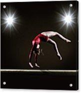 Female Gymnast On Balance Beam Acrylic Print