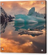 Sunset On Iceberg Acrylic Print