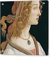 Portrait Of A Young Woman, Portrait Of Simonetta Vespucci As Nymph Acrylic Print