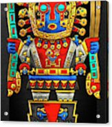 Incan Gods - The Great Creator Viracocha On Black Canvas Acrylic Print