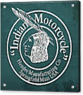 Indian Motorcycle Old Vintage Logo Green Background Acrylic Print