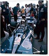 Jackie Stewart At The Wheel Of A Racing Acrylic Print