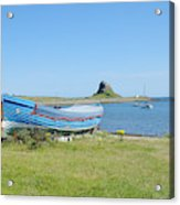 Lindisfarne Castle, Bay And Boat Acrylic Print