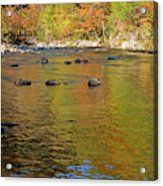 Little River In Autumn In Smoky Mountains National Park Acrylic Print