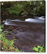 Long Exposure Photographs Of Rolling River With Fall Foliage Acrylic Print
