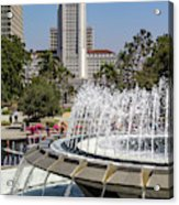 Los Angeles City Hall And Arthur J. Will Memorial Fountain Acrylic Print