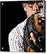 Mixed Race Baseball Player Pitching Acrylic Print