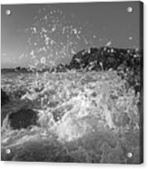 Ocean Wave Splash In Black And White Acrylic Print