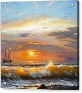 Oil Painting On Canvas , Sailboat Acrylic Print