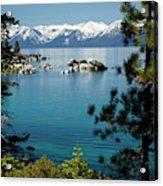Rocks In A Lake With Mountain Range Acrylic Print