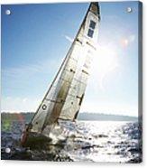 Sailboat In Sea Acrylic Print