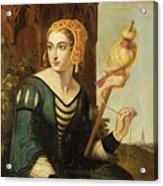 Seated Noble Lady With Distaff Before Gothic Tower And Landscape View Acrylic Print