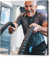 Senior Man Exercising With Ropes At The Gym. Acrylic Print