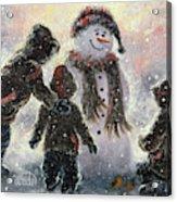 Snowman And Three Boys Acrylic Print