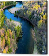 Springtime On The Manistee River Aerial Acrylic Print