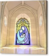 Stained Glass Window Nativity Scene Acrylic Print