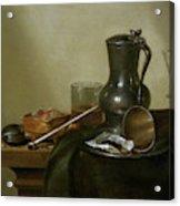 Still Life With Tobacco  Wine And A Pocket Watch  Acrylic Print