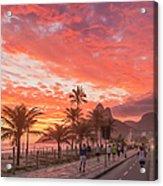 Sunset Over Ipanema Beach Acrylic Print