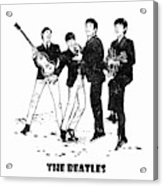 The Beatles Black And White Watercolor 02 Acrylic Print