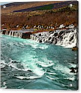 The Beautiful Cascades Of Hraunfossar In Iceland. Acrylic Print