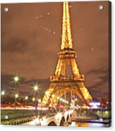 The Eiffel Tower Lit Up At Night In Acrylic Print